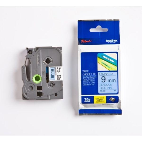 Brother TZE-521 Original P-Touch schwarz auf blau Laminat