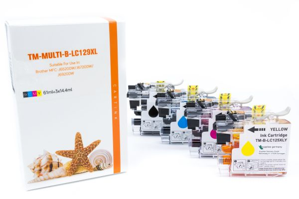 Alternativ zu Brother LC-129XLVALBPDR Druckerpatrone MultiPack Bk,C,M,Y